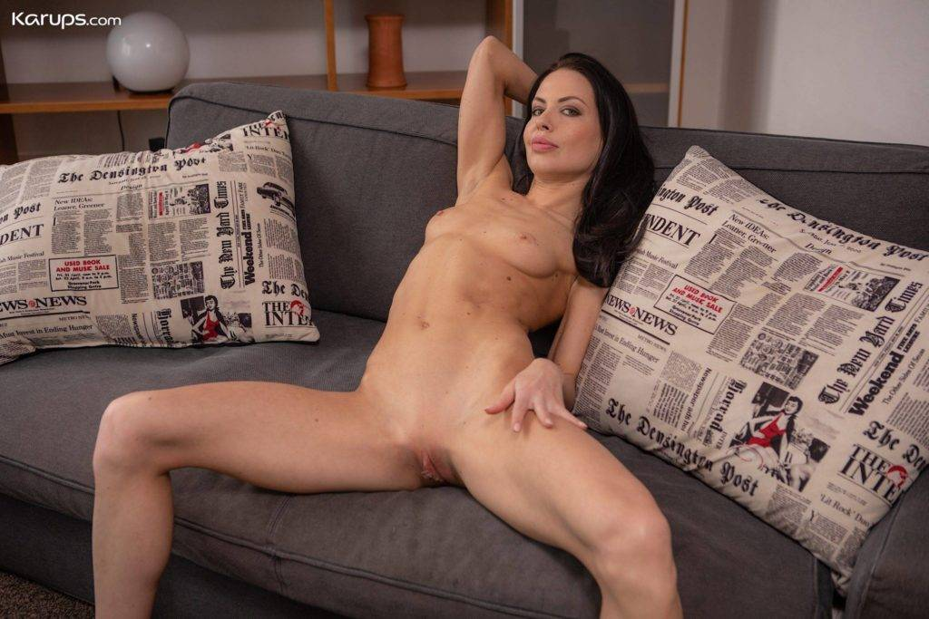 Dark Haired Milf Allatra Hot Wearing Only Heels On The Sofa At Karupsow