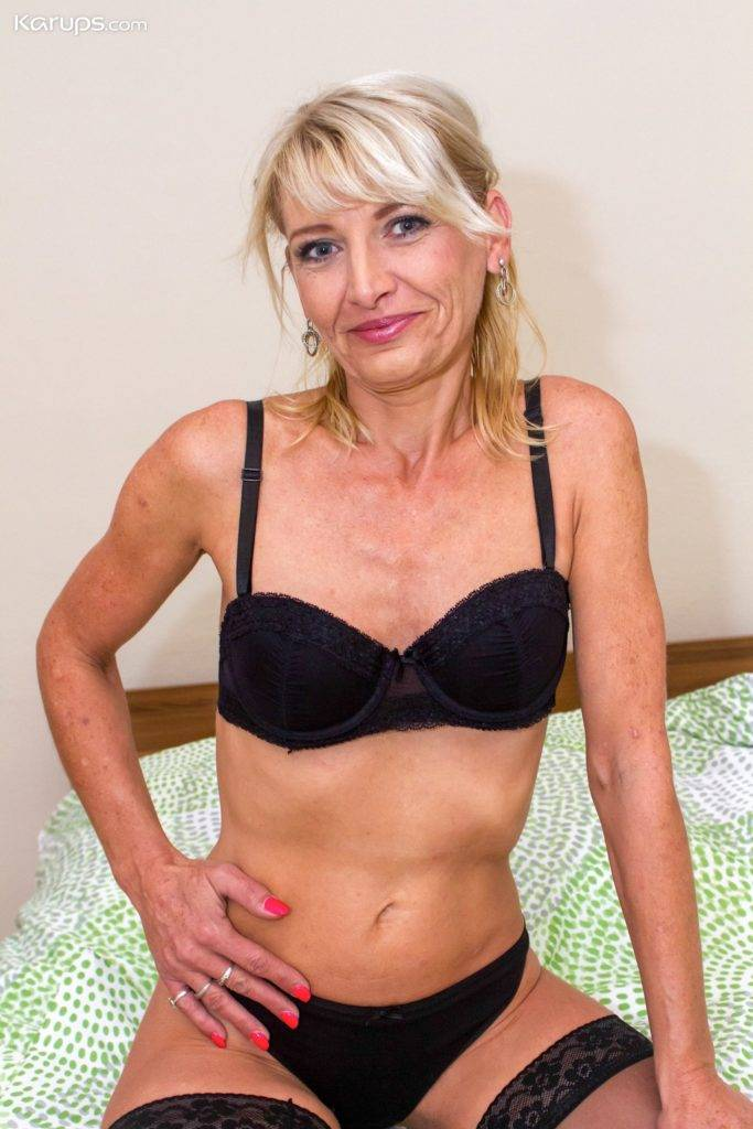 Older Amateur Joanne Darby Naked In Her Black Stockings At Karupsow