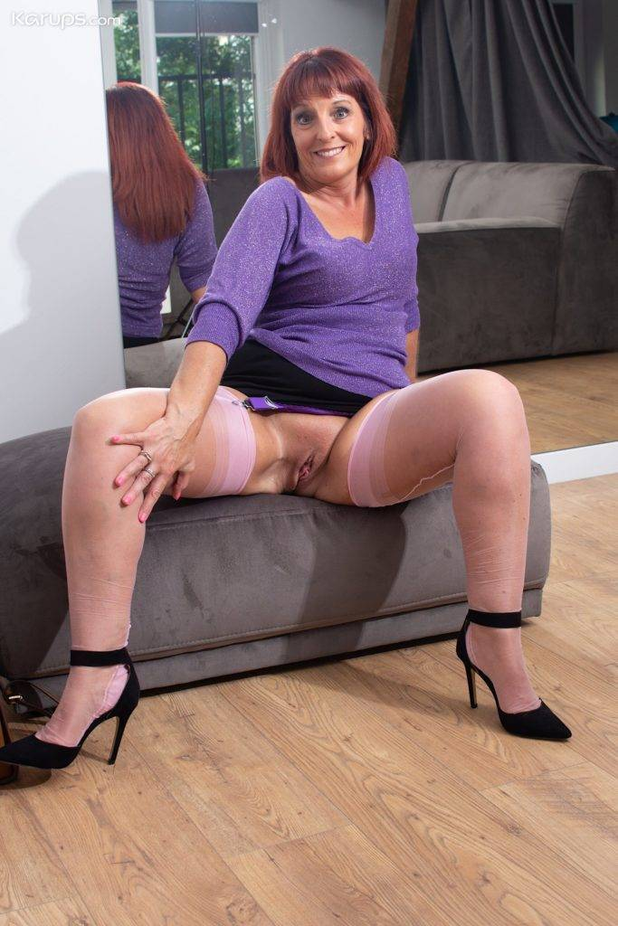 Older Redhead Beau Diamonds Spreads Her Pink Stocking Covered Legs At Karupsow