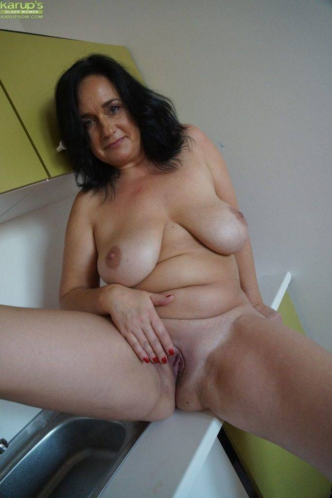 Mature Housewife Ria Black Gets Naked On The Kitchen Counter At Karupsow