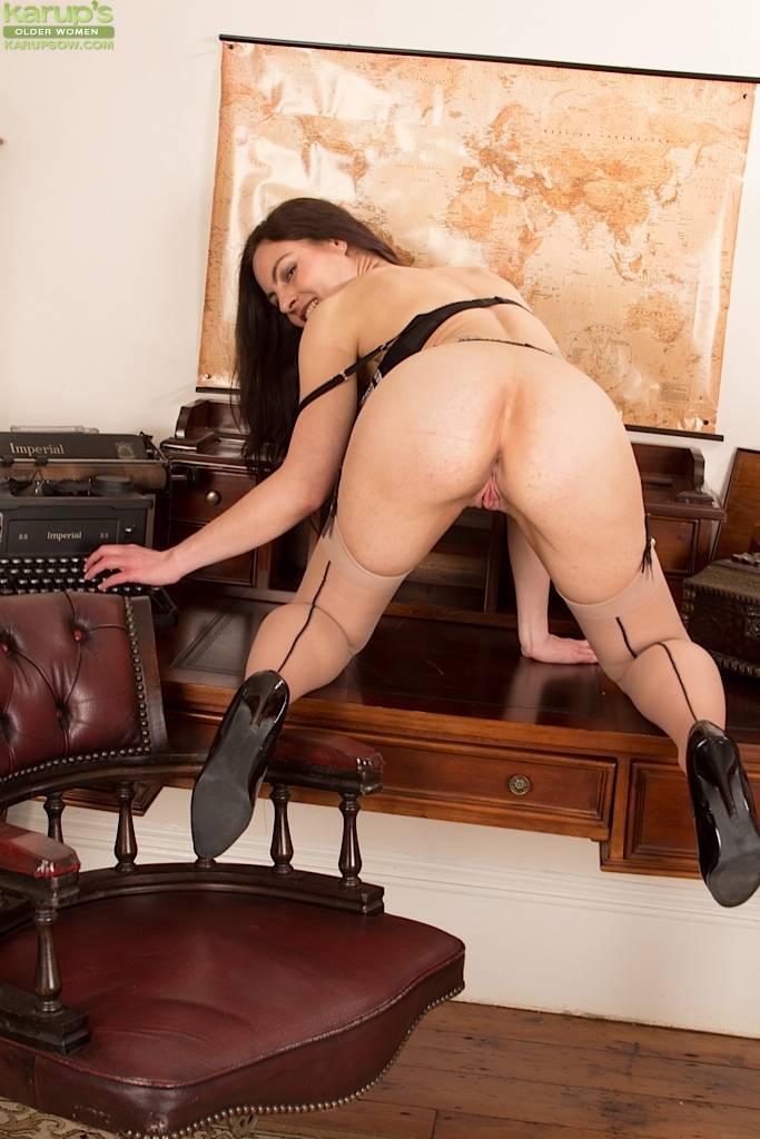Brunette Milf Michelle Khan Naked On Office Desk At Karupsow