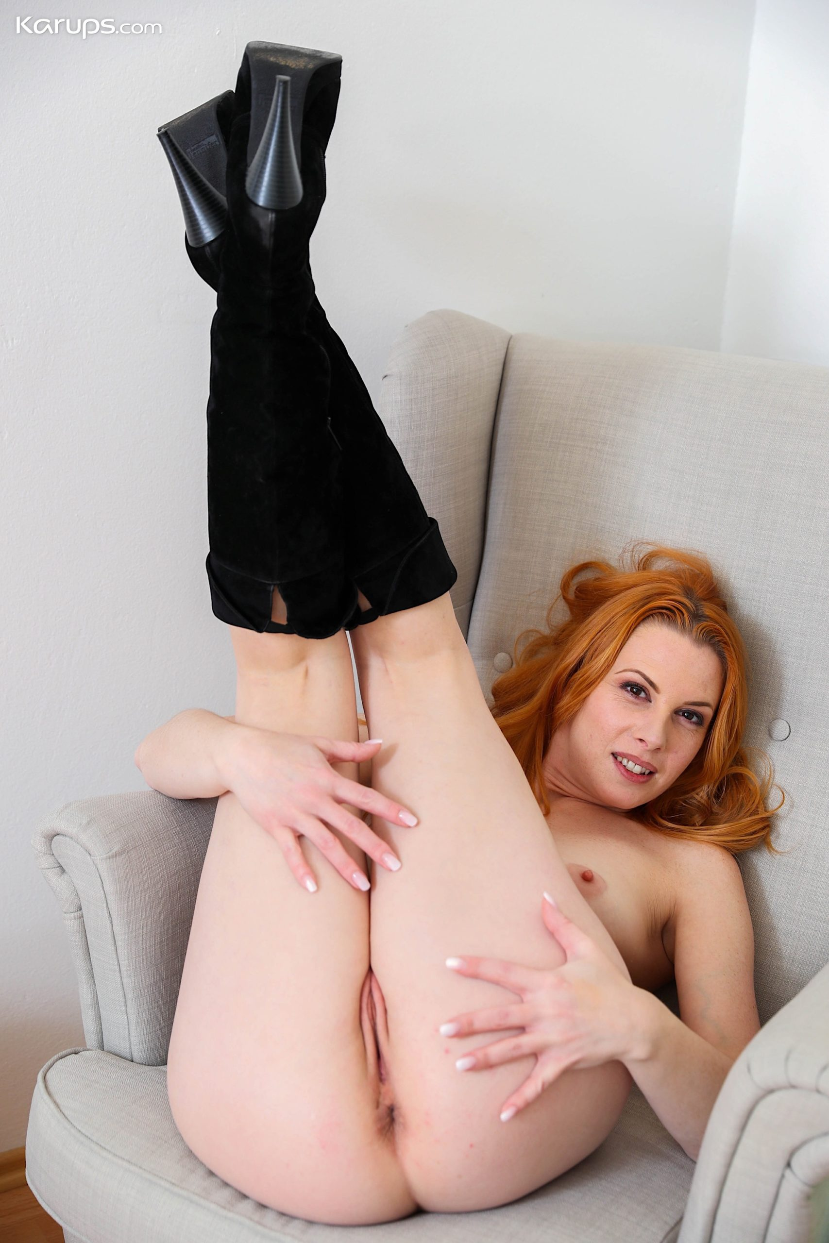 Redhead Milf Michelle Russo Licks Her Smaller Tits And Spreads Her Box At Karupsow